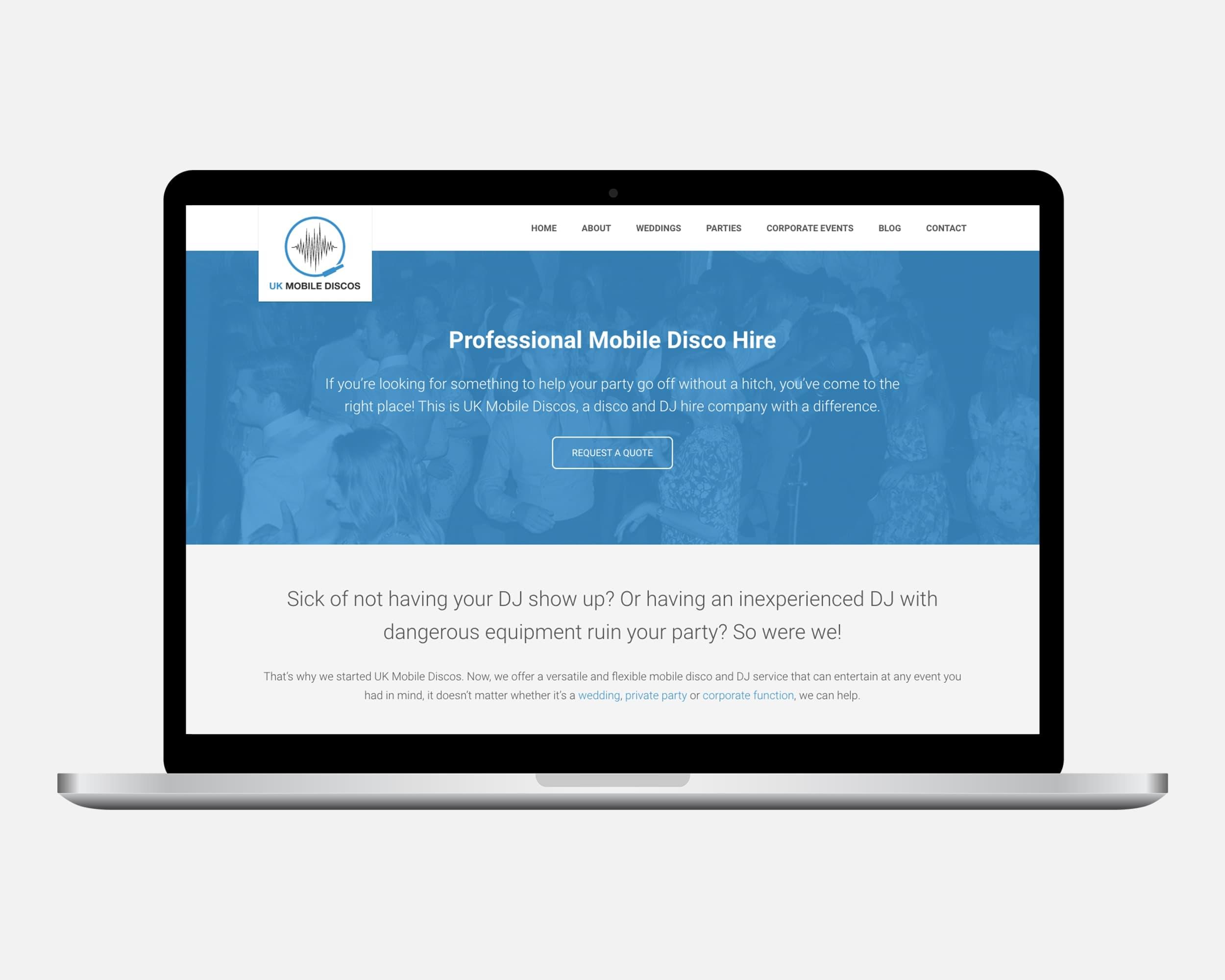 UK Mobile Discos Website Design