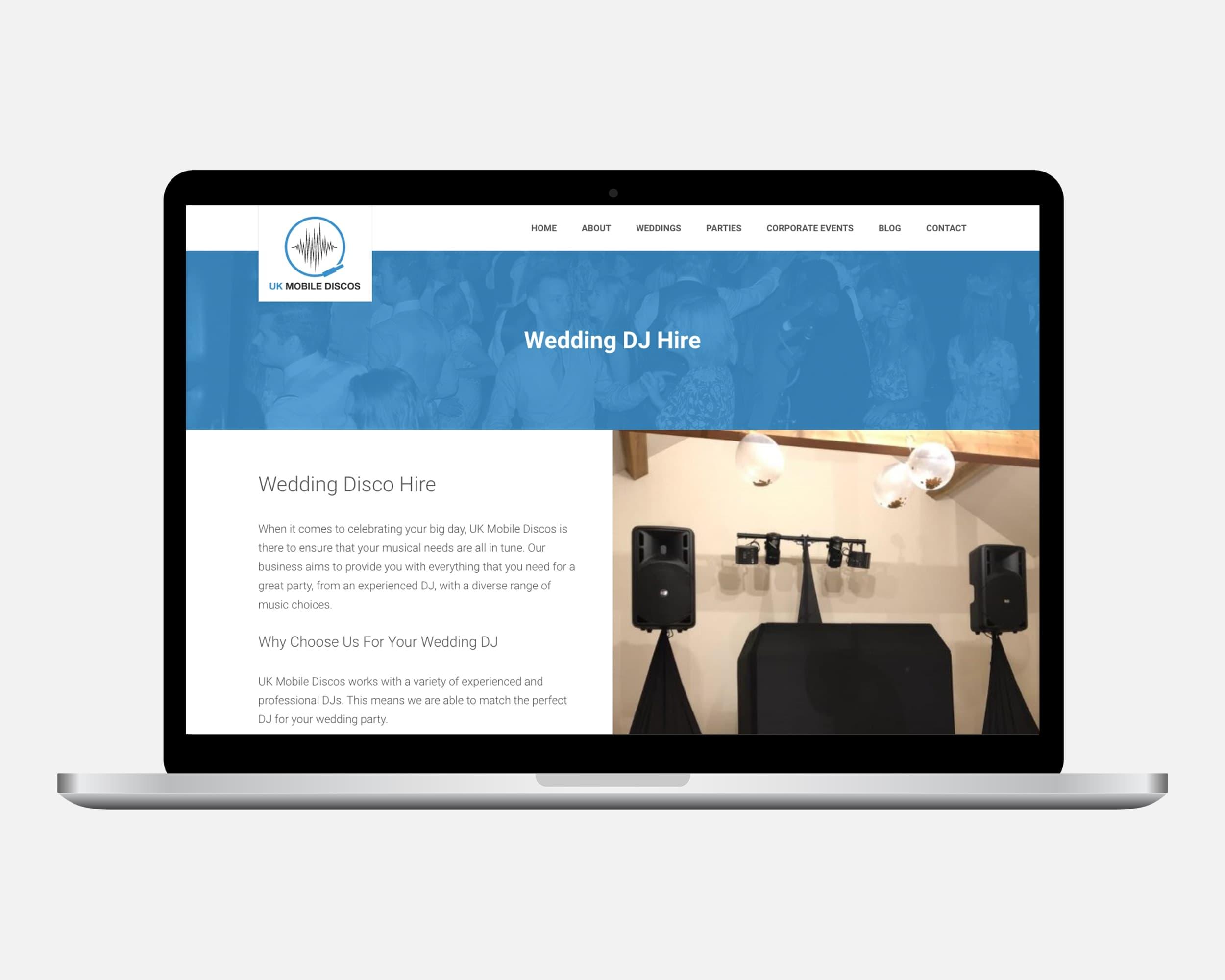 Wedding DJ Website Design